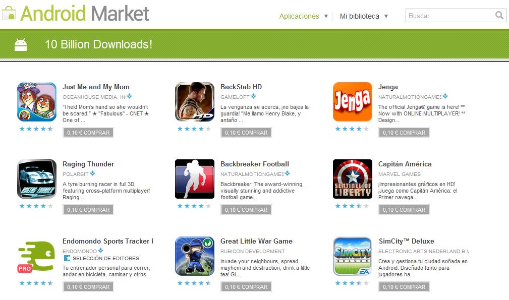 Aplicaciones Android a 0.10€ 1