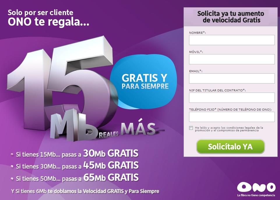 www.ono.es Cómo solicitar el aumento gratuito de ONO de 15MB 1