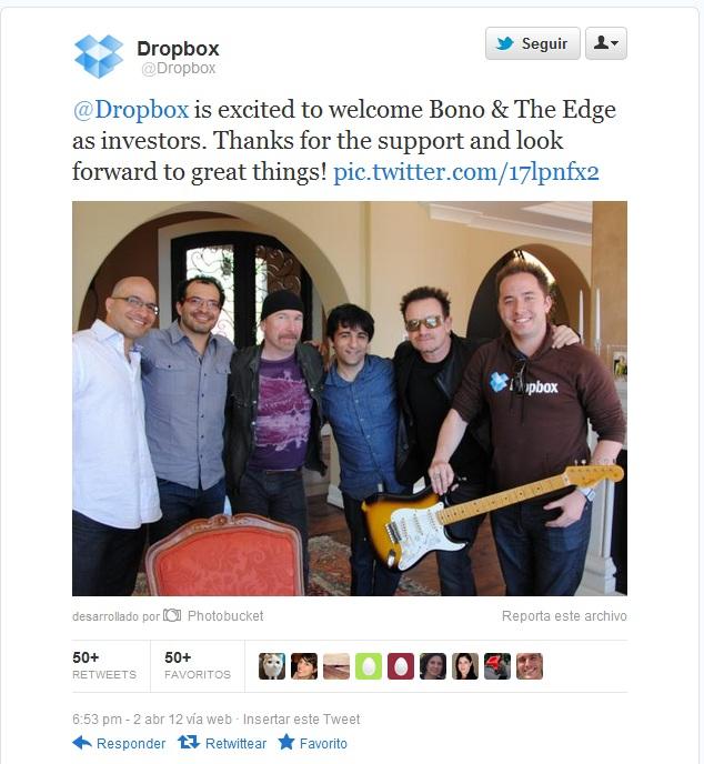 U2 invierte en Dropbox 1
