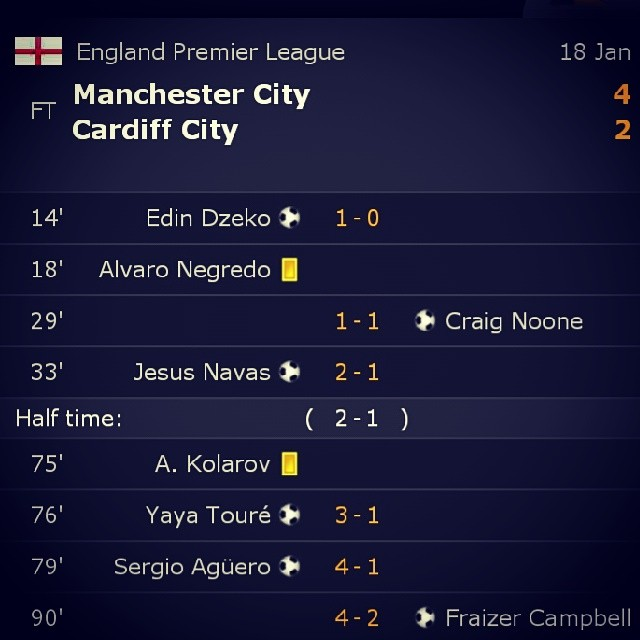 Manchester City 4 - Cardiff 2