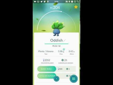 Evolución de Oddish a Gloom en Pokémon GO